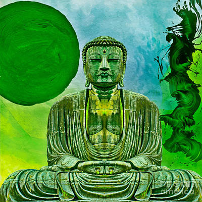 Mixed Media - Green Buddha by Lita Kelley