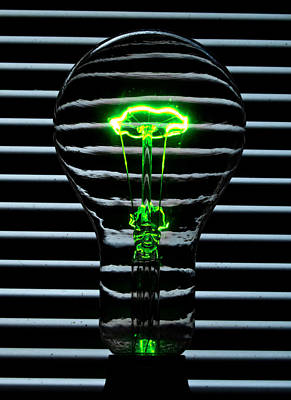 Dimmer Switch Photograph - Green Bulb by Rob Hawkins