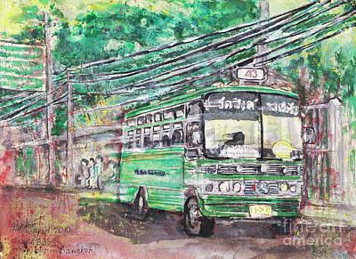 Bangkok Painting - Green Bus Mini Bus Bangkok by Gordon Tardio