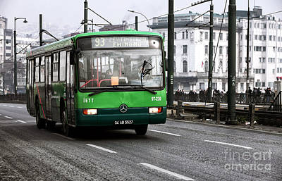 Old School Bus Photograph - Green Bus On The Galata by John Rizzuto