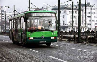 Green Bus On The Galata Art Print