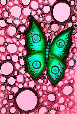Painting - Green Butterfly by Brenda Higginson