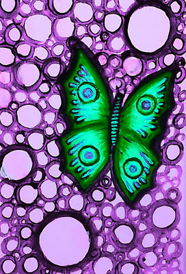 Painting - Green Butterfly II by Brenda Higginson
