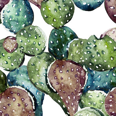 Abstract Pattern Painting - Green Cactus  by Mark Ashkenazi