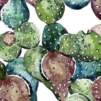 Nature Abstract Painting - Green Cactus  by Mark Ashkenazi