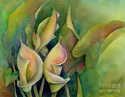 White Flowers Painting - Green Calla Lilies by Amy Kirkpatrick