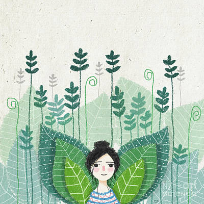 Garden Drawing - Green by Carolina Parada