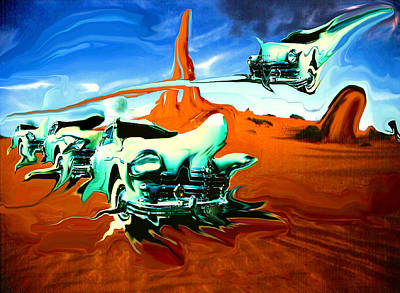 Painting - Green Cars In Red Desert - Surrealistic Fantasy Art by Peter Potter