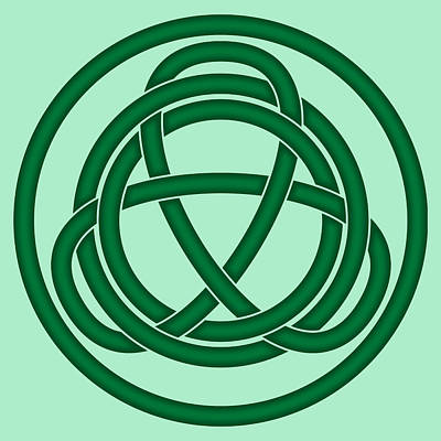 Digital Art - Green Celtic Knot by Jane McIlroy