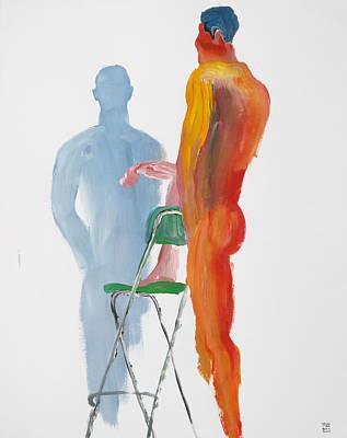 Green Chair Blue Shadow Art Print by Shungaboy X