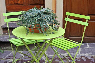 Green Chairs And Table With Plant In Pot Art Print by Sami Sarkis