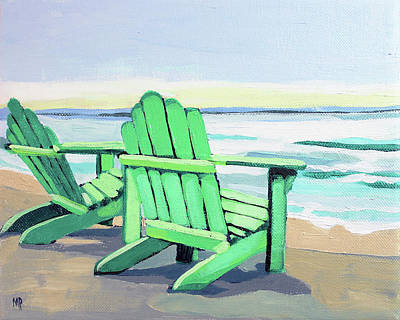 Painting - Green Chairs On The Shore by Melinda Patrick