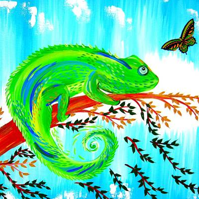 Chameleon Painting - Green Chameleon by Cathy Jacobs