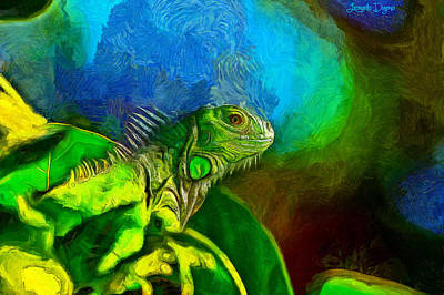 Iguana Painting - Green Chameleon - Pa by Leonardo Digenio