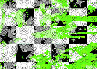 Digital Art - Green Checker Skull Splatter by Roseanne Jones