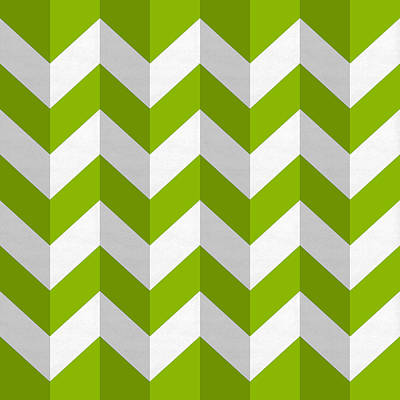 Digital Art - Green Chevron by Chuck Staley