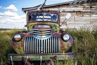Photograph - Green Chevy Truck At The Barn by Steven Bateson