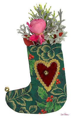 Photograph - Green Christmas Stocking With Heart And Rose by Lise Winne