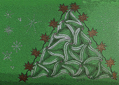 Drawing - Green Christmas Tree by Joyce Wasser