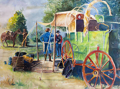 Cattle Roundup Painting - Green Chuckwagon by Toyah Taylor