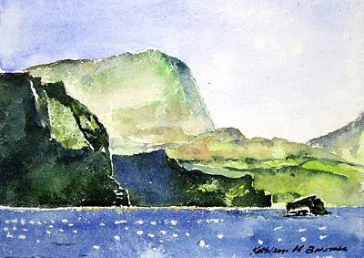 Painting - Green Cliffs And Sea by Kathleen Barnes