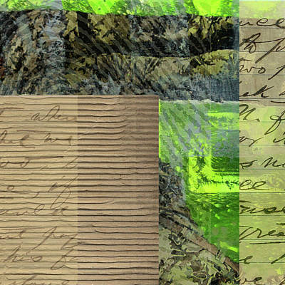 Cardboard Mixed Media - Green Collage No. 6 by Nancy Merkle