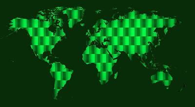 Green Digital Art - gREEN COOL WORLDMAP by Alberto RuiZ