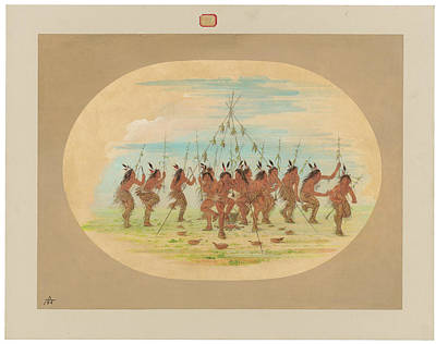 Painting - Green Corn Dance, Minatarrees by George Catlin