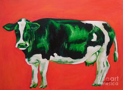 Green Cow Art Print