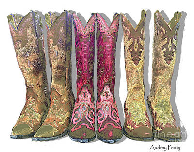 Photograph - Green Cowboy Boots by Audrey Peaty