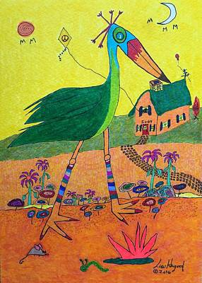 Painting - Green Crane With Leggings And Painted Toes by Lew Hagood