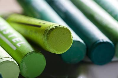 Green Crayons Art Print by Frank Tschakert