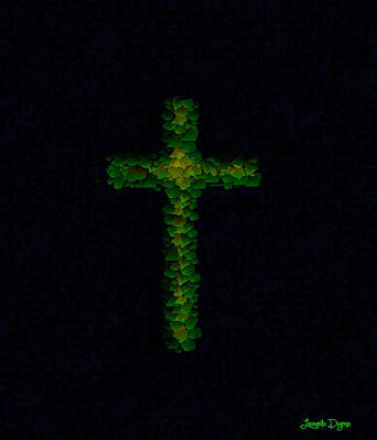 Lime Digital Art - Green Cross - Palette Knife Style - Da by Leonardo Digenio