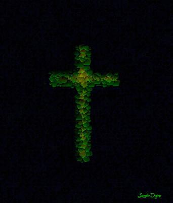 Lime Painting - Green Cross - Palette Knife Style - Pa by Leonardo Digenio