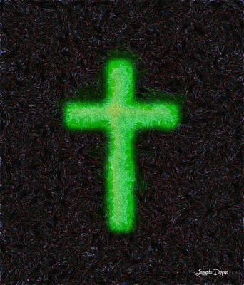 Green Background Painting - Green Cross - 'starry Night' Style - Pa by Leonardo Digenio