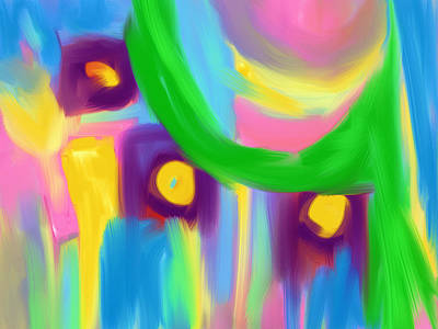 Painting - Green Curtain Over Purple  Flowers by Susan Stone