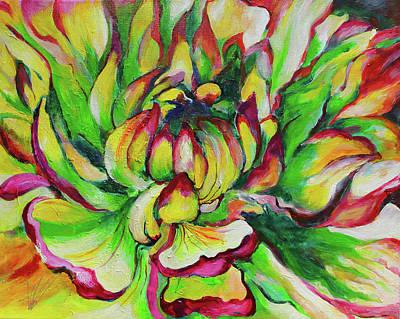 Youthful Painting - Green Dahlia by Athena Zahn