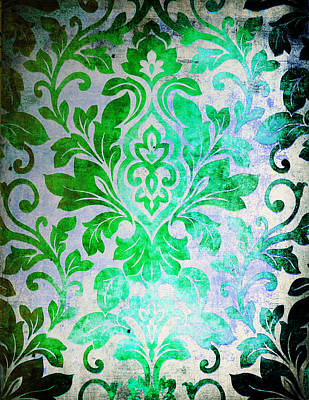 Green Damask Pattern Art Print