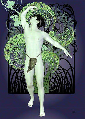 Male Nude Drawing Drawing - Green Dance by Quim Abella