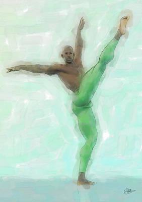 Ballet Dancers Mixed Media - Green Dancer by Quim Abella