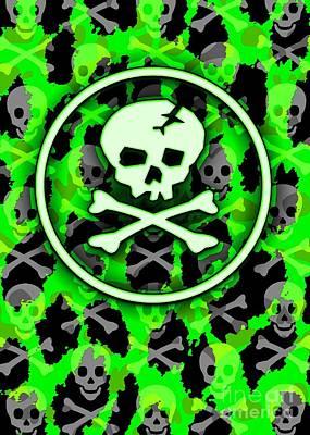 Green Deathrock Skull Art Print by Roseanne Jones