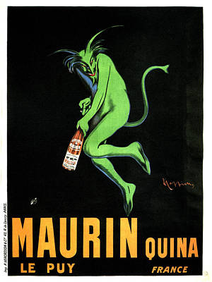 Mixed Media - Green Devil - Liqueur Le Puy Maurin Quina - Quina Aperitif - Vintage French Advertising Poster by Studio Grafiikka