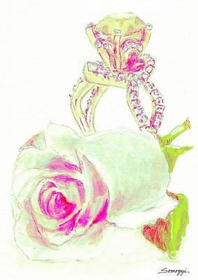 Rosebud Drawing - Green Diamonds by Jayne Somogy