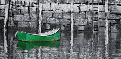 Photograph - Green Dinghy In Rockport by Jeff Folger