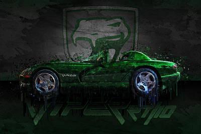 Photograph - Green Dodge Viper Rt/10 by Ray Van Gundy