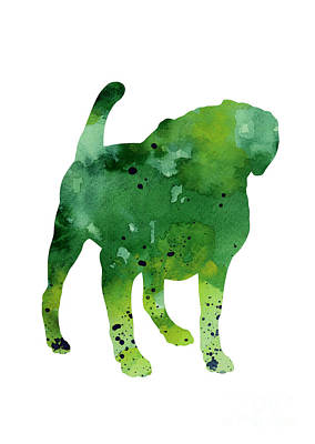 Puggle Painting - Green Dog Watercolor Poster by Joanna Szmerdt