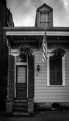 Shotgun Houses Wall Art - Photograph - Green Door And Shutters In Black And White by Greg Mimbs