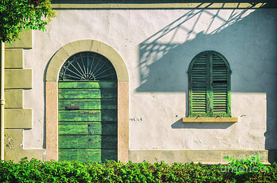 Photograph - Green Door And Window by Silvia Ganora
