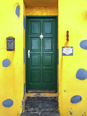Photograph - Green Door And Yellow Wall - Colorful Tenerife by Matthias Hauser