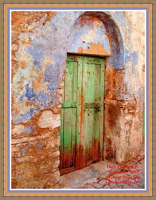 Green Door On Adendorff Street H A With Decorative Ornate Printed Frame. Print by Gert J Rheeders